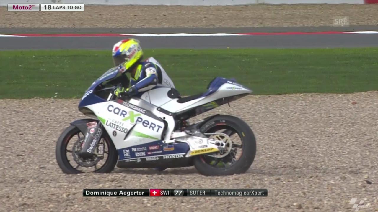 Motorrad: Moto2, GP Silverstone, Sturz von Aegerter