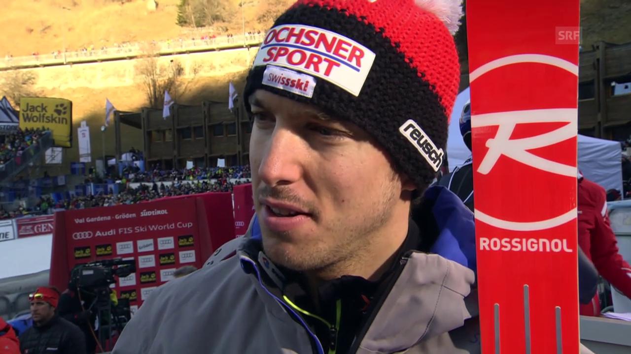 Ski: Abfahrt Männer in Gröden, Interview mit Carlo Janka