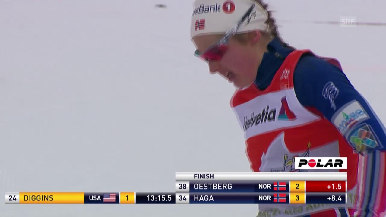5 km Skating: Diggins siegt, Östberg hält sich an der Spitze