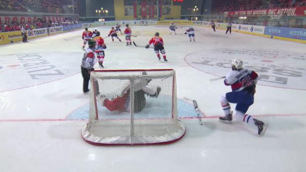 Video «Eishockey: Arosa Challenge, Schweiz - Norwegen, Verletzung Martin Gerber («sportlive», 20.12.2013)» abspielen
