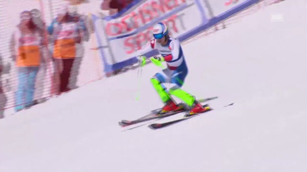 Video «Ski: Schweizermeisterschaften auf der Fiescheralp, Superkombination der Männer» abspielen