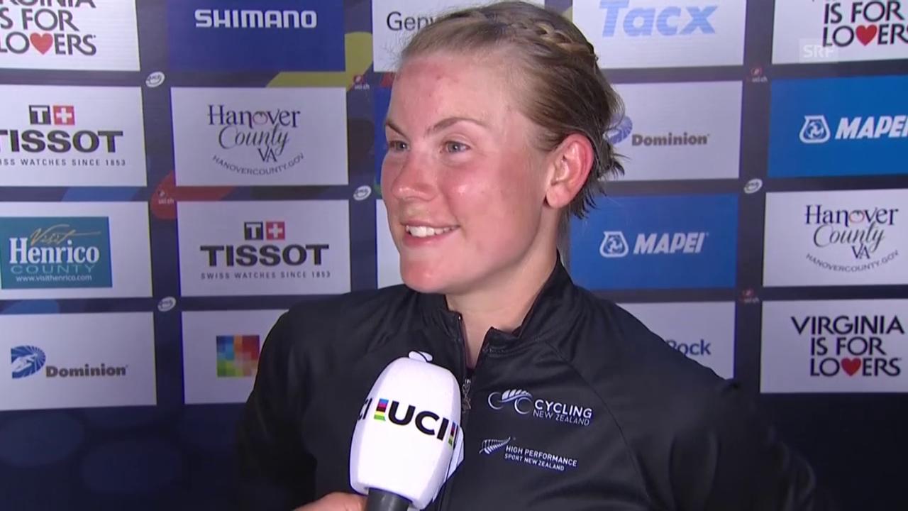Rad: Strassen-WM in Richmond, Zeitfahren Frauen, Zieleinfahrt und Interview Villumsen