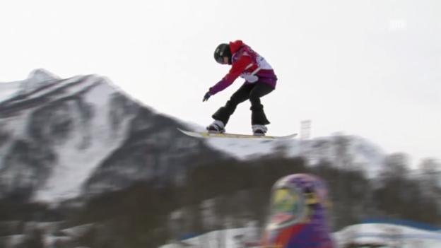 Video «Snowboard Slopestyle: Der 2. Run von Sina Candrian (sotschi direkt, 9.2.2014)» abspielen