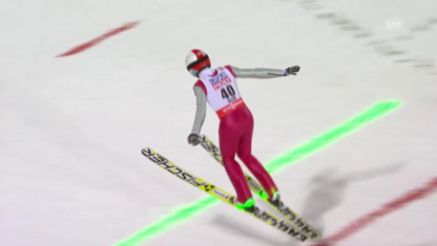 Video «Skispringen: Nordisch-WM in Falun, 2. Sprung von Simon Ammann» abspielen