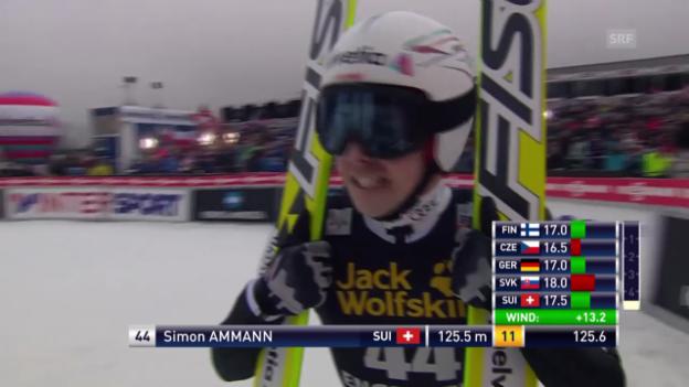 Video «Skispringen: Weltcup in Engelberg, 1. Sprung Simon Ammann» abspielen