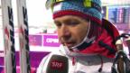 Video «Biathlon: Sprint 10 km, Interview Björndalen (sotschi direkt, 8.2.2014)» abspielen