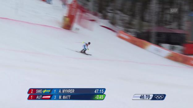 Video «Ski Alpin: Slalom der Männer, 1. Lauf von Mario Matt (sotschi direkt, 22.2.2014)» abspielen