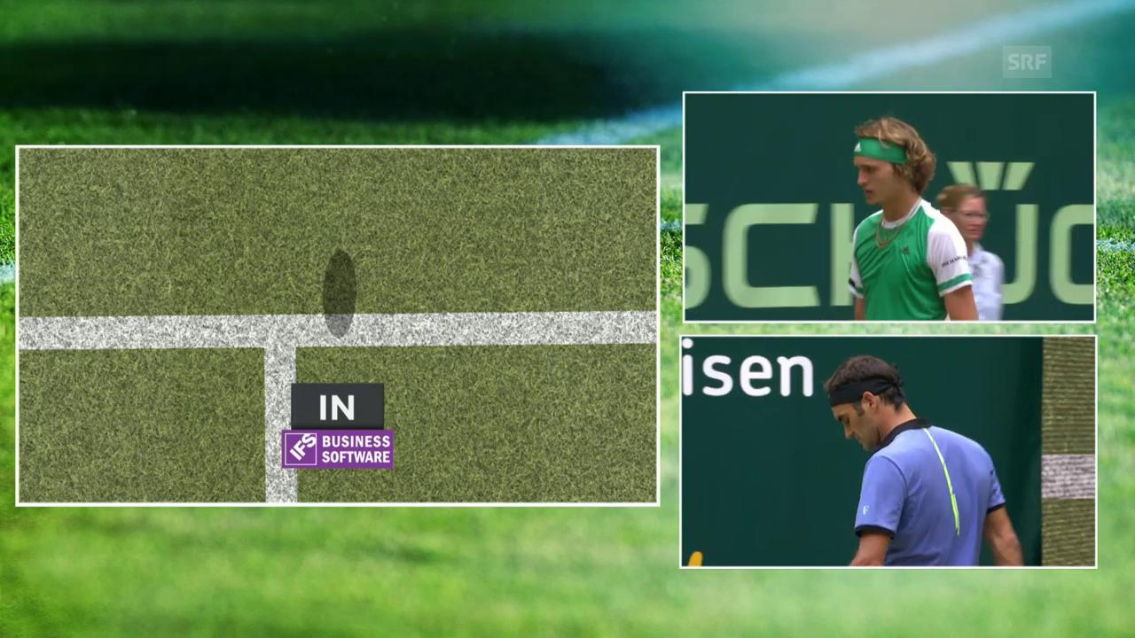 Erst Schiri-Korrektur, dann Stoppball: Federer hat alles im Griff
