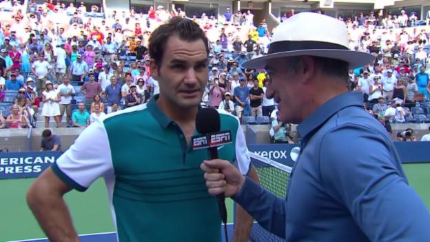 Video «Tennis: US Open, Federer - Mayer, Federer im Interview» abspielen