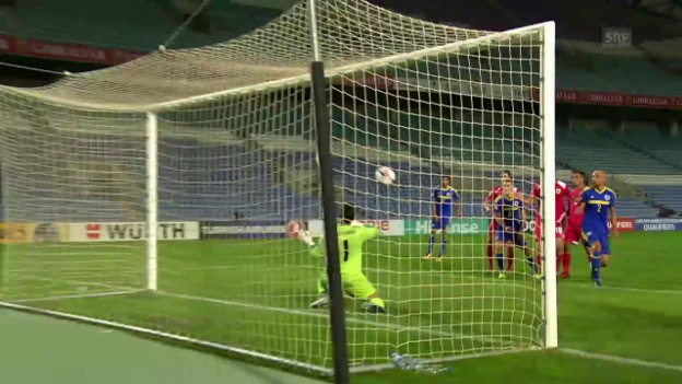 Video «Gibraltar-Goalie Ibrahim hext gegen Bosnien» abspielen