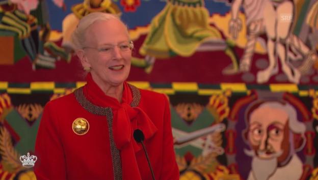 Video «Königin Margarethe nimmt die Verletzung ihres Sohnes mit Humor» abspielen