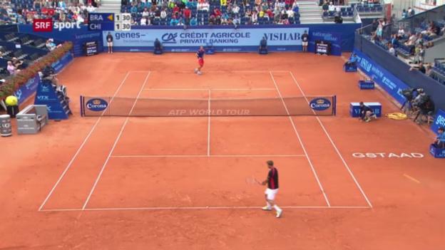 Video «ATP Gstaad: Chiudinelli - Brands («sportaktuell»)» abspielen