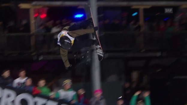 Video «Snowboard: Freestyle-WM in Kreischberg, Final Halfpipe, 1. Run Hablützel» abspielen