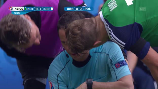 Video «Schiedsrichter-Assistent Cano von Ball getroffen» abspielen