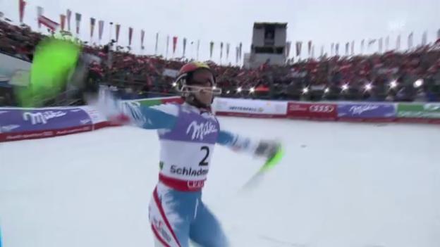 Video «WM-Slalom: 2. Lauf Hirscher» abspielen