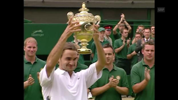 Video «Federers Premiere gegen Philippoussis» abspielen