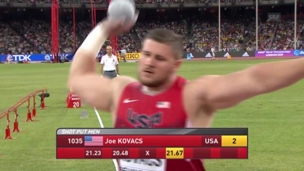 Video «Leichtathletik: WM Peking, Kugelstossen Kovacs» abspielen