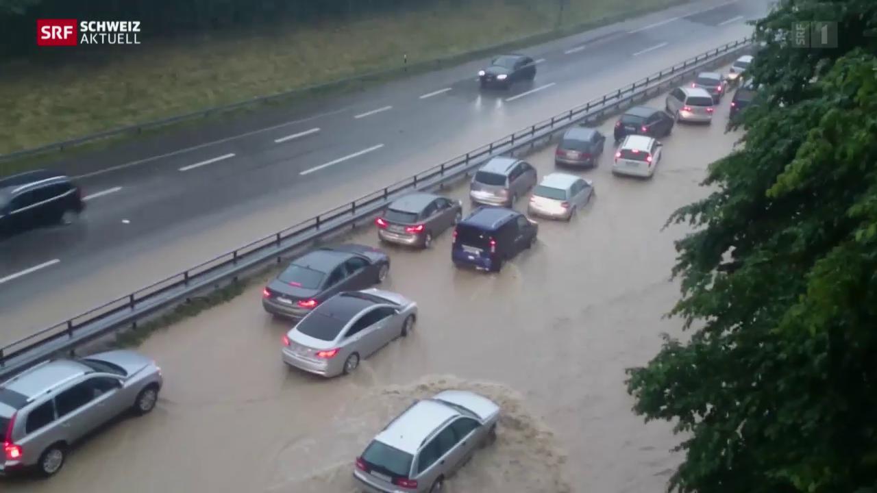 A1 zwischen Wil und Münchwilen geflutet