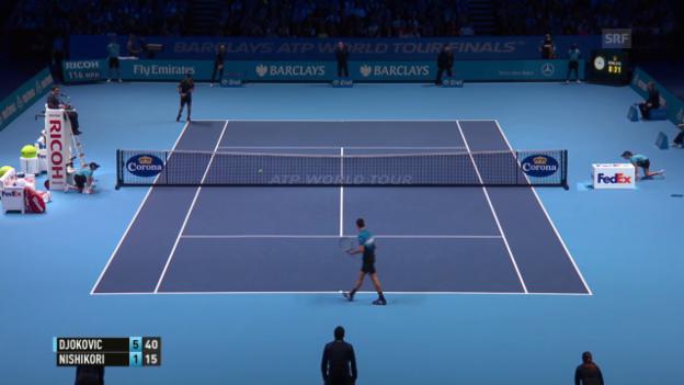 Video «Tennis: ATP Finals, 1. Runde, Djokovic-Nishikori, Satzball 1. Satz» abspielen