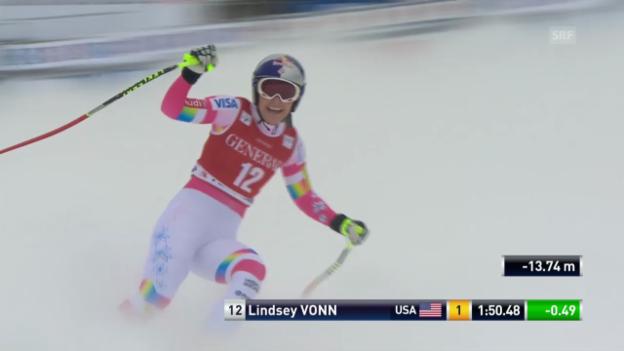 Video «Ski Alpin: Weltcup Abfahrt in Lake Louise, Fahrt von Lindsey Vonn» abspielen