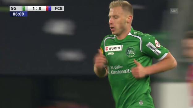 Video «Fussball: Cup-Halbfinale, FC St. Gallen - FC Basel, 3:1 Cavusevic» abspielen
