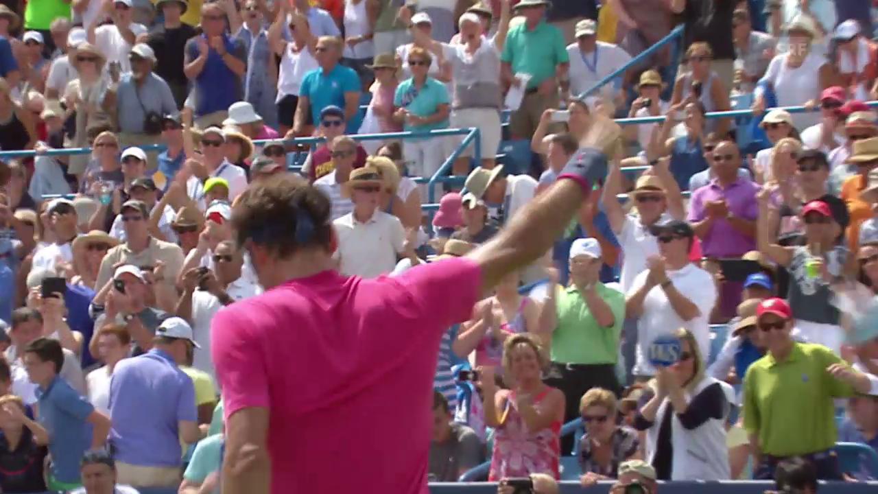 Tennis: ATP 1000 Cincinnati, Final Federer-Djokovic, Matchball Federer