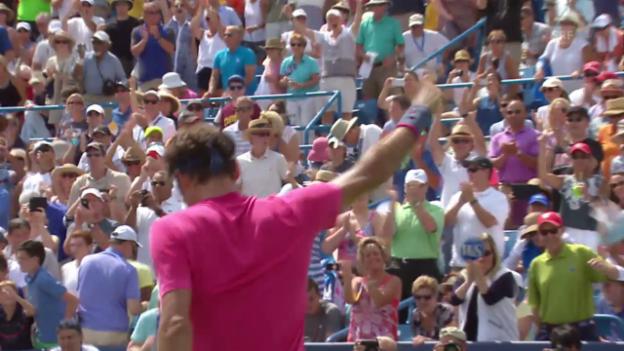 Video «Tennis: ATP 1000 Cincinnati, Final Federer-Djokovic, Matchball Federer» abspielen