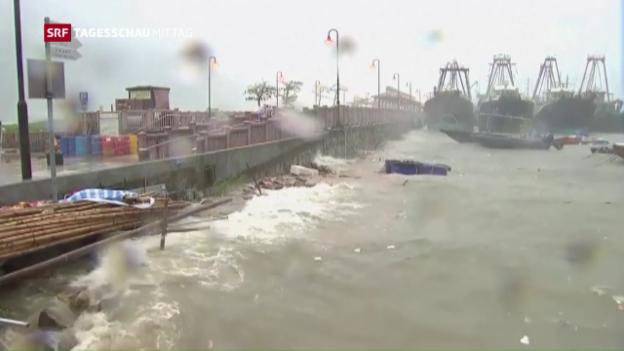 Video «Taifun verwüstet Küste von Hongkong» abspielen