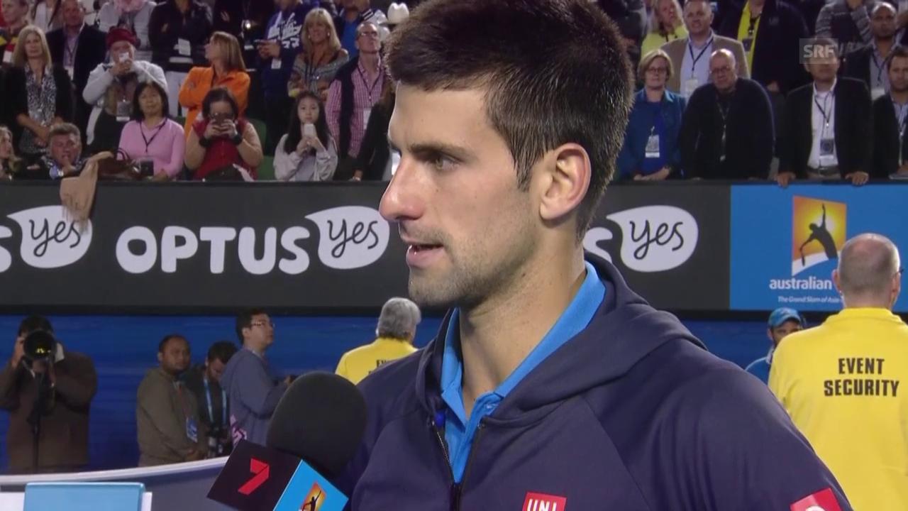 Tennis: Australian Open, Halbfinal Wawrinka - Djokovic, Djokovic im Platzinterview (englisch)