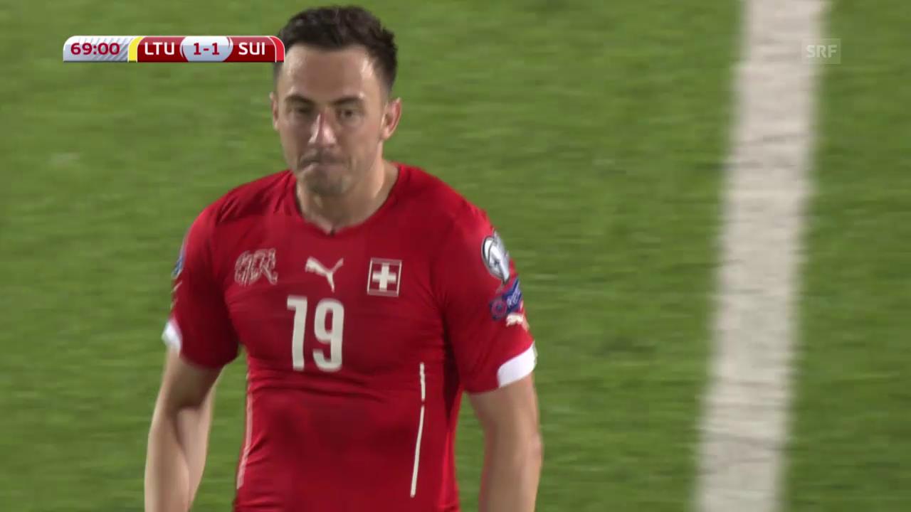 Fussball: Euro-Qualifikation 2016, Litauen - Schweiz, 1:1 durch Drmic