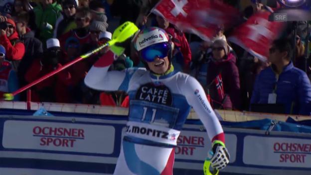 Video «Yule-Exploit im 1. Slalom-Lauf in St. Moritz» abspielen
