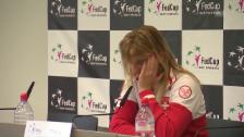 Video «Bacsinszky kämpft an der Pressekonferenz mit den Tränen» abspielen