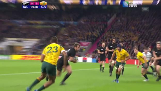 Video «Rugby: WM-Final, 1. Try Neuseeland zum 16:3» abspielen
