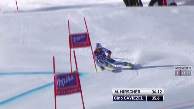 Video «Ski Alpin: Weltcup Adelboden, Riesenslalom, 1. Lauf Caviezel» abspielen