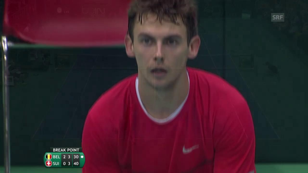 Tennis: Davis Cup, Belgien-Schweiz, Laaksonen-Bemelmans