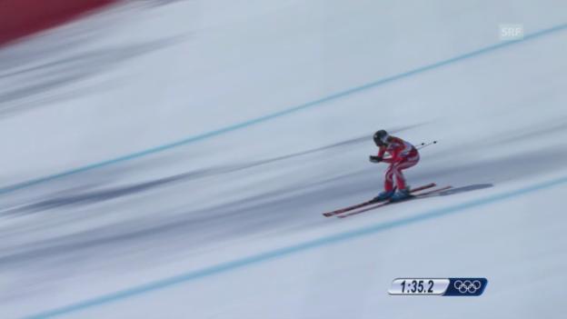 Video «Ski: Kombi-Abfahrt Frauen, Fahrt Lara Gut (sotschi direkt, 10.02.2014)» abspielen