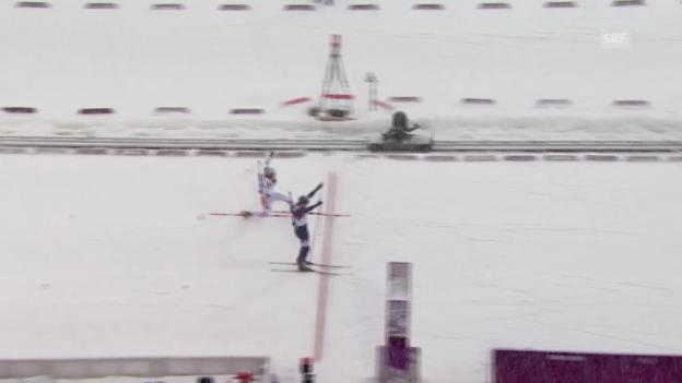 Video «Biathlon: 15 km Massenstart Männer, Zusammenfassung (18.2.2014)» abspielen