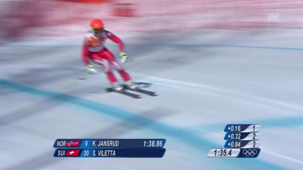 Video «Ski, Kombinations-Abfahrt, Fahrt von Sandro Viletta (sotschi direkt, 14.02.14)» abspielen