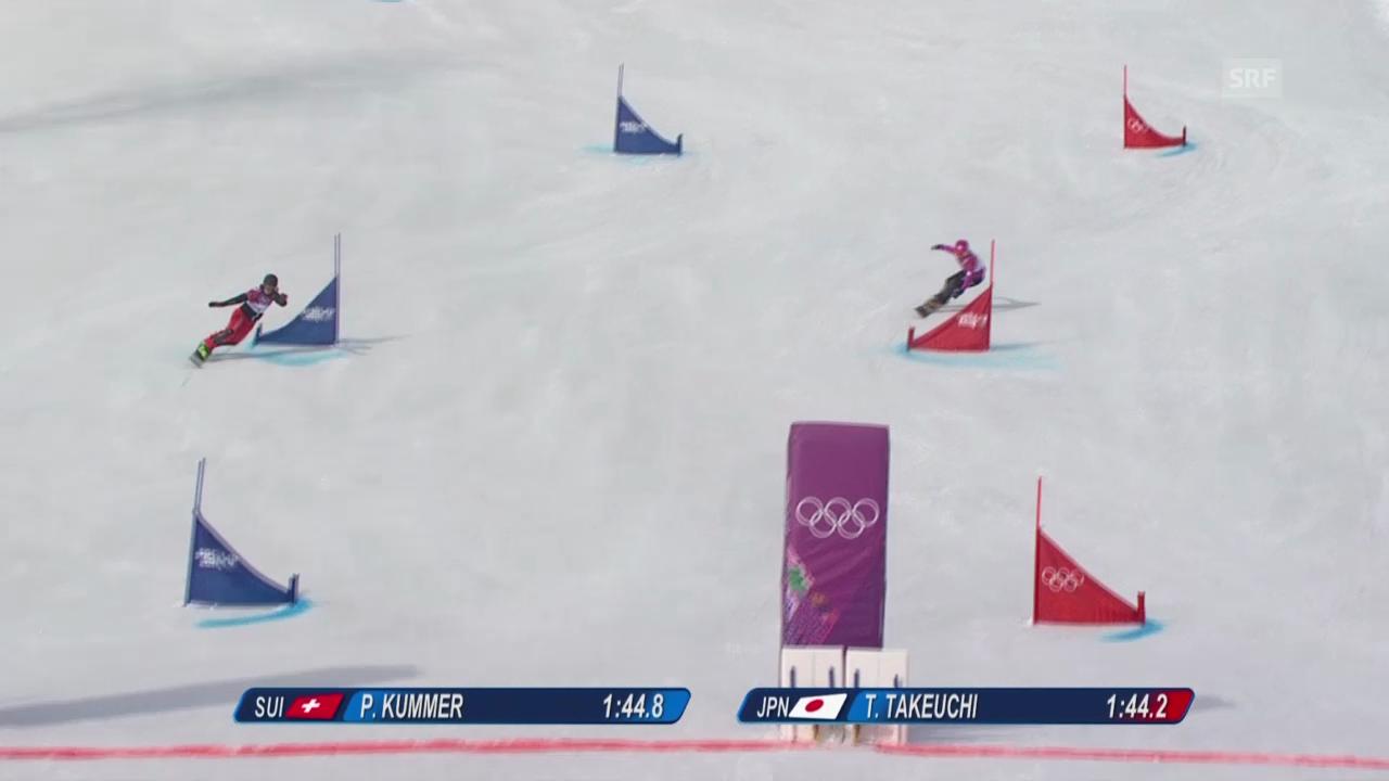 Snowboard: Parallel-RS, Qualifikation, 2. Lauf von Patrizia Kummer (sotschi direkt, 19.2.14)