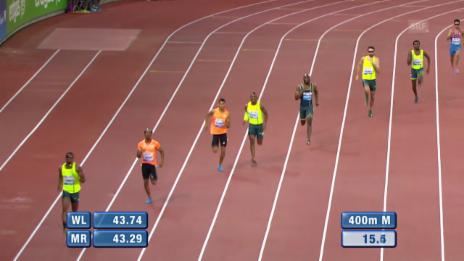 Video «Leichtathletik: Weltklasse Zürich, 400 m Männer» abspielen