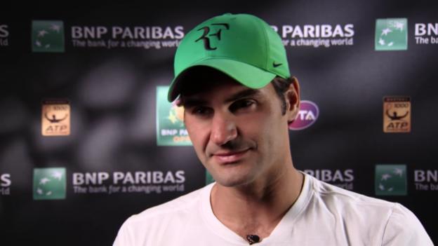 Video «Federer: «Die Bälle springen hier sehr hoch ab»» abspielen