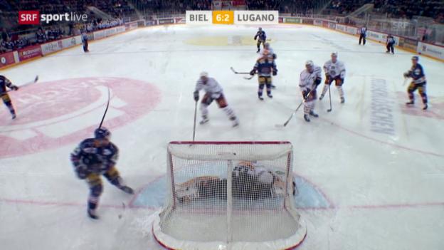Video «1, 2, 3, 4, 5, 6:2 – Der EHC Biel zaubert gegen Lugano im Powerplay» abspielen