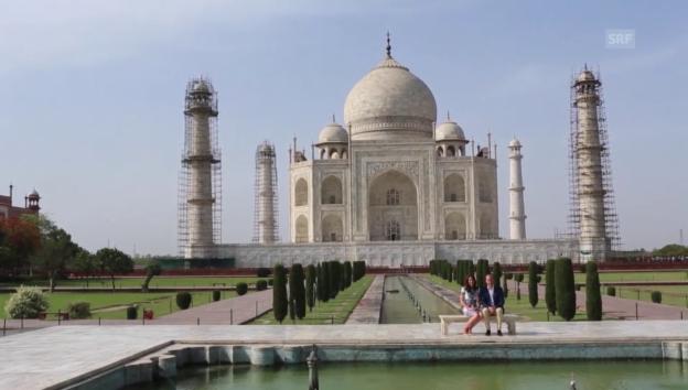 Video «William und Kate besuchen den Taj Mahal (unkomm.)» abspielen