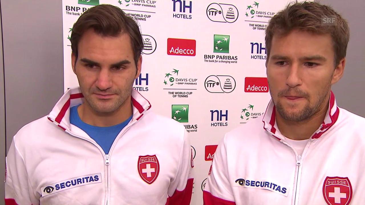 Tennis: Davis Cup, Schweiz - Holland, Interview Federer und Chiudinelli