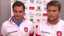 Video «Tennis: Davis Cup, Schweiz - Holland, Interview Federer und Chiudinelli» abspielen