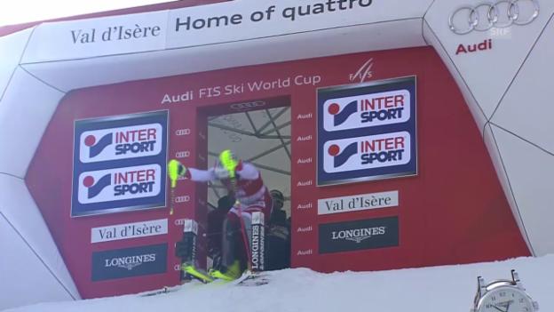 Video «Ski alpin: Slalom in Val d'Isère, 2. Lauf von Daniel Yule» abspielen