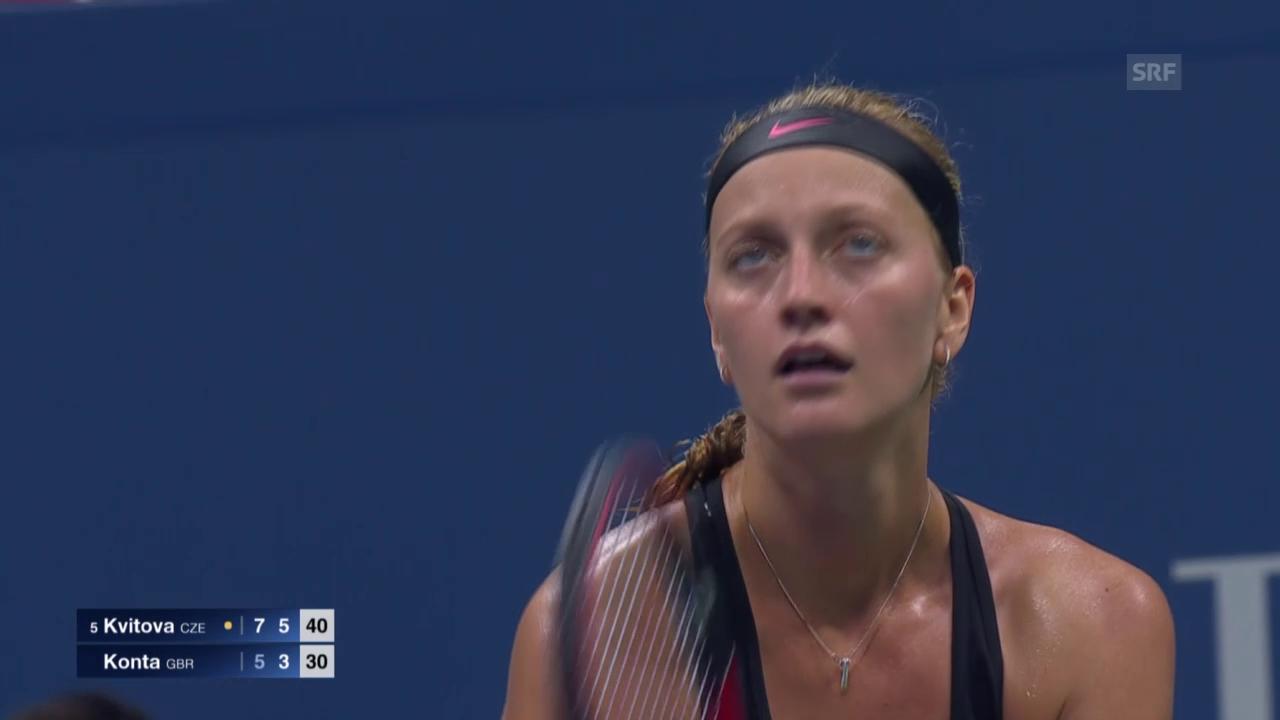 Tennis: US Open 2015, Frauen-Achtelfinal, Petra Kvitova - Johanna Konta