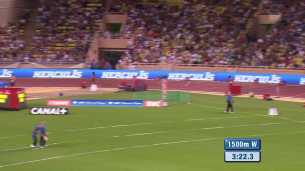 Video «Leichtathletik: Diamond League Monaco, Dibaba läuft zu Weltrekord über 1500M» abspielen