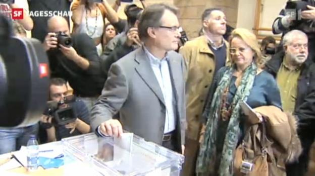 Video «Will sich vom Diktat Spaniens loslösen: Regierungschefs Artur Mas. («Tagesschau» vom 25.11.2012)» abspielen