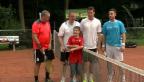 Video «Star-Treffen: Mark Streit und Roman Josi spielen Tennis mit Fans» abspielen